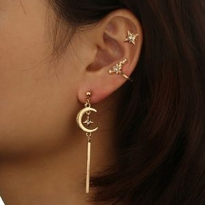 Gold Color Inlay Crystal Star Moon Earring Set